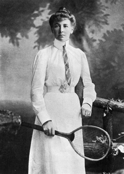 Charlotte Cooper                                of the                                 United Kingdom                                , first woman Olympic champion, in the                                 1900 Games                                .
