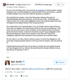 Editor-in-Chief Ben Smith tweets an email he sent to his team about his decision to publish the story