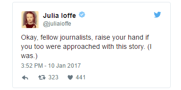 Tweet from Julia Ioffe about being approached with the documents