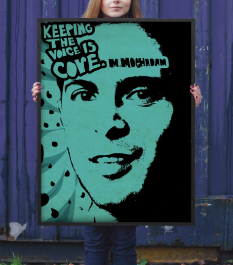 A fan made painting of Mahbod that was recently under dispute after its involvement as propaganda in the Berkeley Antifa Protests.