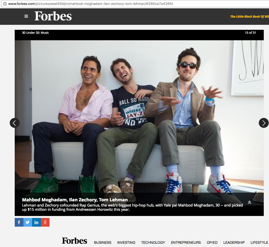 Mahbod was featured in Forbes 30 under 30