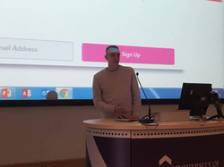 James presenting Student Loot - The Student Box Subscription Service at the University of Gloucestershire