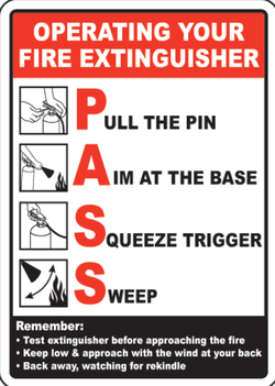 PASS method for using a                               fire extinguisher