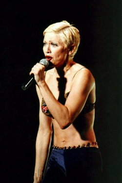 Madonna performing during                                 The Girlie Show World Tour                                , 1993