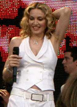 Madonna performing at the                                 Live 8                                benefit concert (2005)