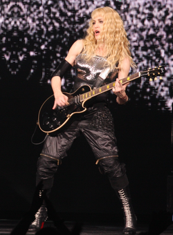 "Madonna playing the                                 guitar riff                                of ""A New Level"" by                                 heavy metal                                band                                 Pantera                                during the                                 Sticky & Sweet Tour                                in 2008                                                   [4]"