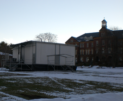 "Saint Anselm College Quad with the ""Fox-Box"", from which the network reported live during the 2004 and 2008 New Hampshire primaries"