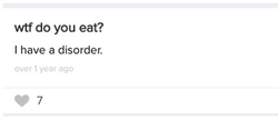 From her ASKfm - Eugenia seemingly admits she has an eating disorder. She does this in other questions as well.