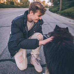 With a dog