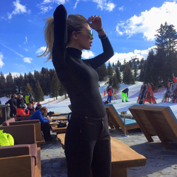 Georgia Toffolo wearing black at Nammos, Courchevel 1850