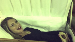 Melissa is the happiest person to be in a casket
