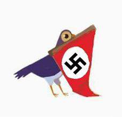 Trash Dove holding a Nazi flag