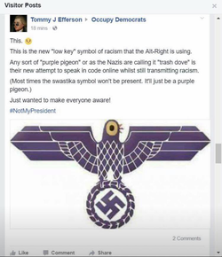 Post about Trash Dove being a Nazi symbol