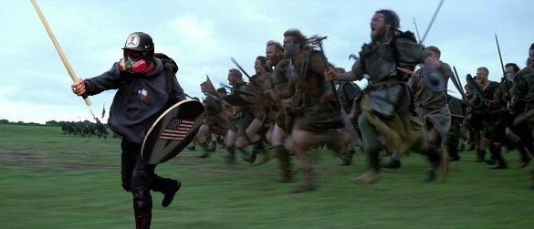 A meme of Based Stick Man leading some warriors