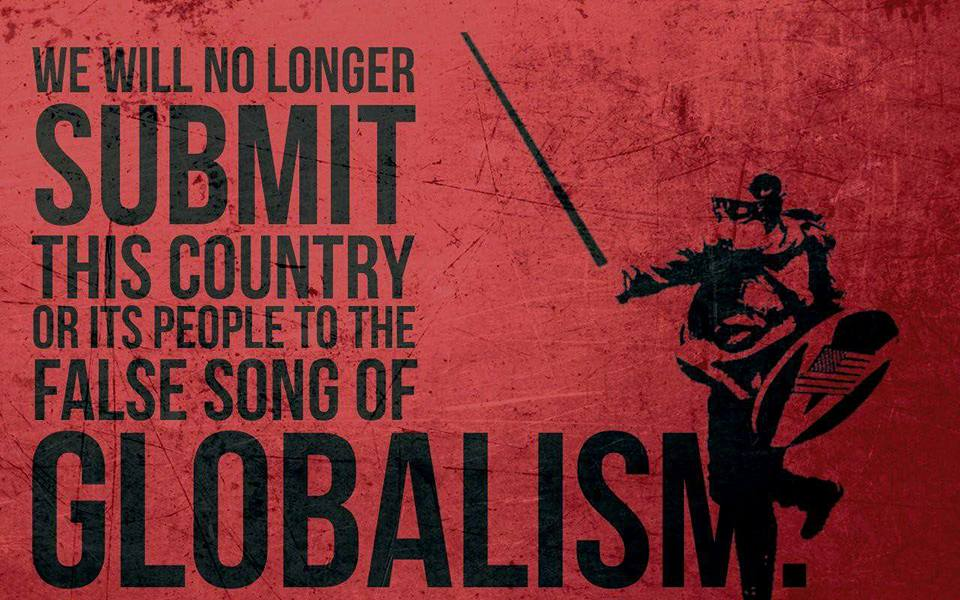 Based Stick Man under the false song of globalism quote