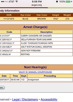 Arrest charges
