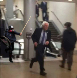 Based Stickman chasing  Bernie Sanders with a stick