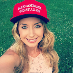 Millie Weaver in a Make America Great Again hat