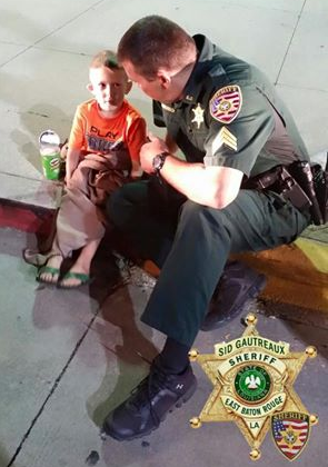 Sgt. Anderson sat and kept the child company and entertained until his guardian was found and the two were reunited (source: Facebook, October 7, 2015, https://www.facebook.com/ebrsheriff/posts/873724026073859)