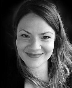 Photo of Corrina Mehiel in black & white