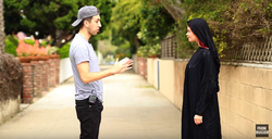 Prank Invasion's Chris Monroe with Dayah Dover (before they kiss)
