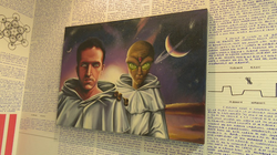 Painting of Bruno with an alien
