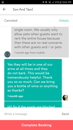 Conversation between Tami Barker andDyne Suhabout bringing dogs to the house (Part 10)