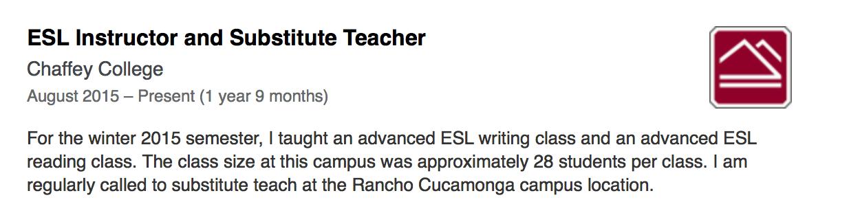 Screenshot that Tami Barker was an ESL Instructor forChaffey Collegein 2015 (before herLinkedInprofile was deleted)