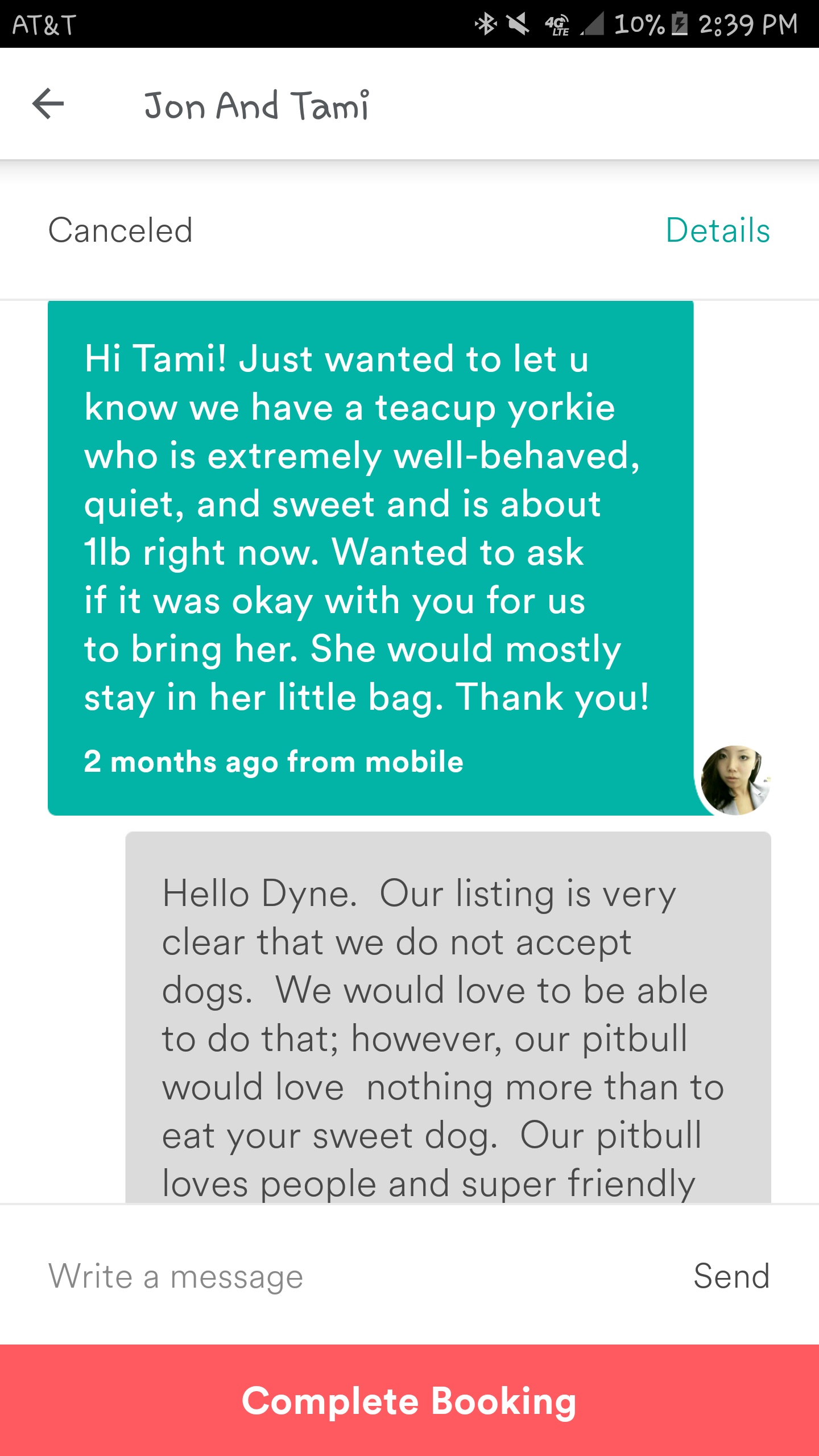 Conversation between Tami Barker andDyne Suhabout bringing dogs to the house (Part 1)