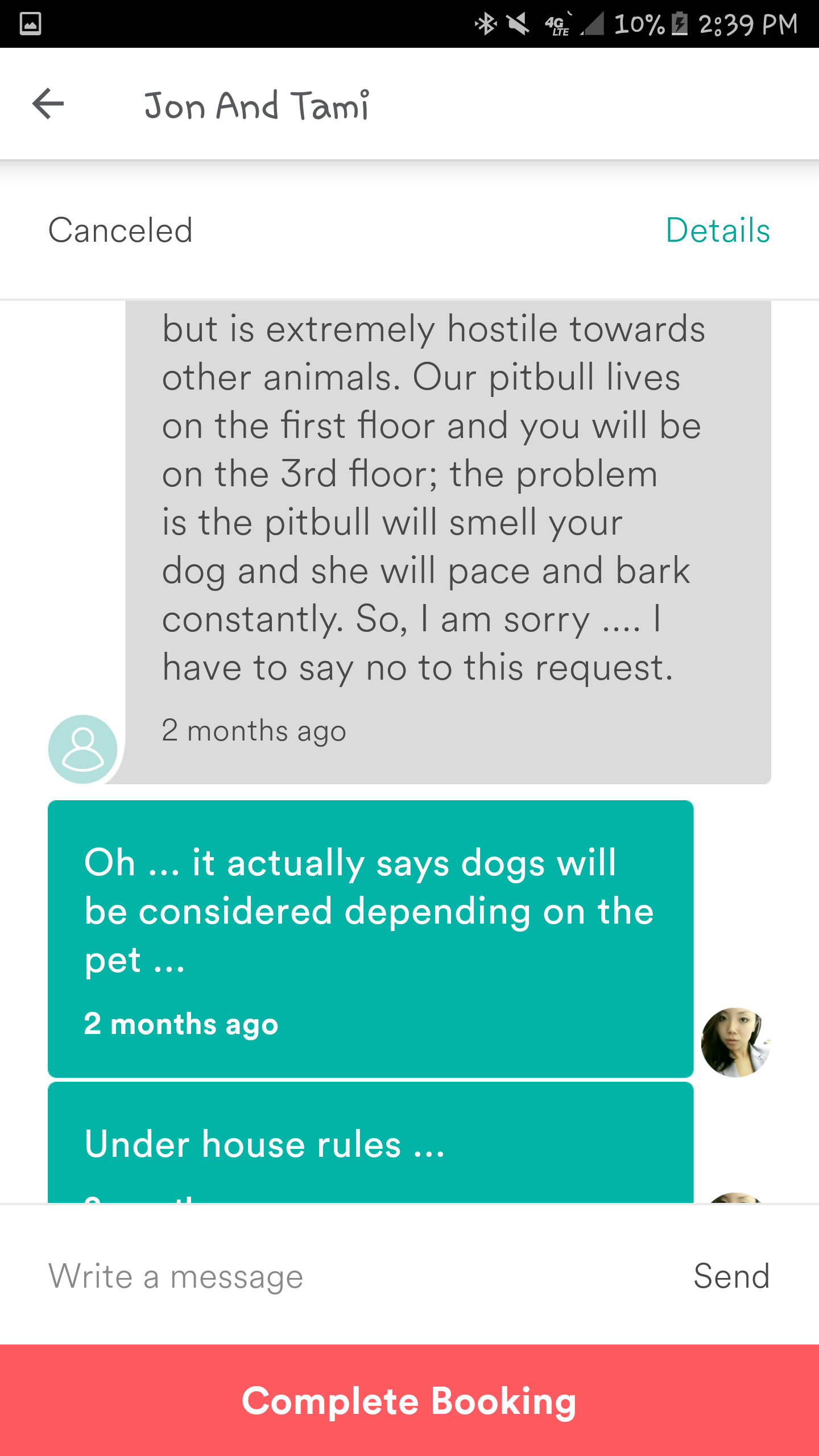 Conversation between Tami Barker andDyne Suhabout bringing dogs to the house (Part 2)