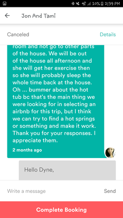 Conversation between Tami Barker andDyne Suhabout bringing dogs to the house (Part 5)