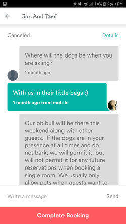 Conversation between Tami Barker andDyne Suhabout bringing dogs to the house (Part 9)