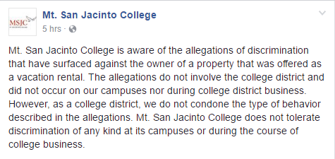 Mt. San Jacinto College      's response to whether they will fire Tami Barker (source:       Facebook      , April 11, 2017; https://www.facebook.com/msjc.edu/posts/1459805387397563)