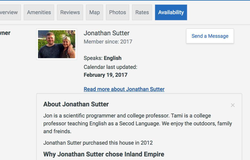 Tami Barker and her husband's       VRBO      account (under her husband's name: Jonathan Sutter)