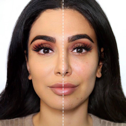 Photo of Huda showing half her face with concealer and the other half without[7]