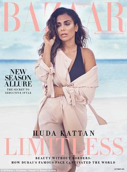 Huda on the cover ofHarper's Bazar