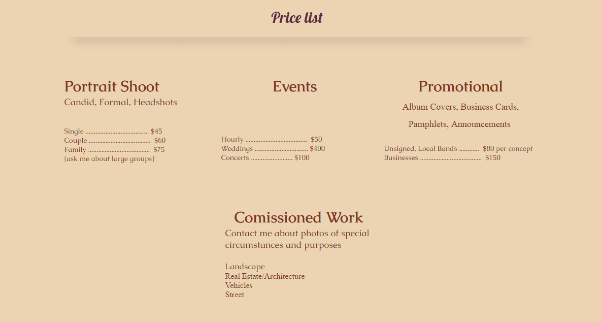 Prices for her photography