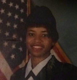 Photo of Joy in her United States Air Forceuniform from when she served