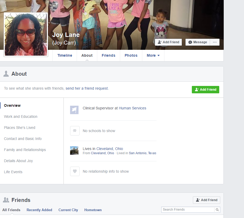 Screenshot of Joy Lane'sFacebookprofile which has since been deleted