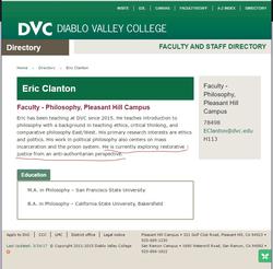 Bio atDiablo Valley College