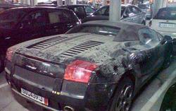 A Lamborghini parked at the Luxury Car Graveyard