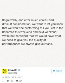 Blink-182 Tweet about the cancelation