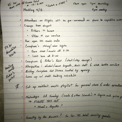 Notes from a festival organizer that were found laying around