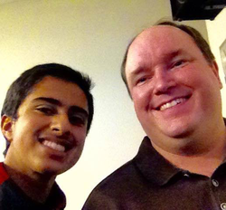 Goswami (left) and former EBay Vice President Dane Glasgow (right) after a talk at American High School