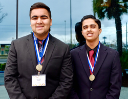 Goswami (right) and his teammate after placing 4th in Hospitality and Team Decision Making at the California DECA 2017 State Conference