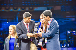 Goswami (right) and his team wins the SIFMA Foundation 2016 International Stock Market Game at the 2016 International Career Development Conference in Nashville, Tennessee