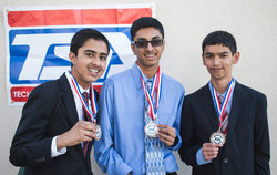 Goswami (left) and his team after winning 3rd place at the 2014 California Technology Student Association State Conference