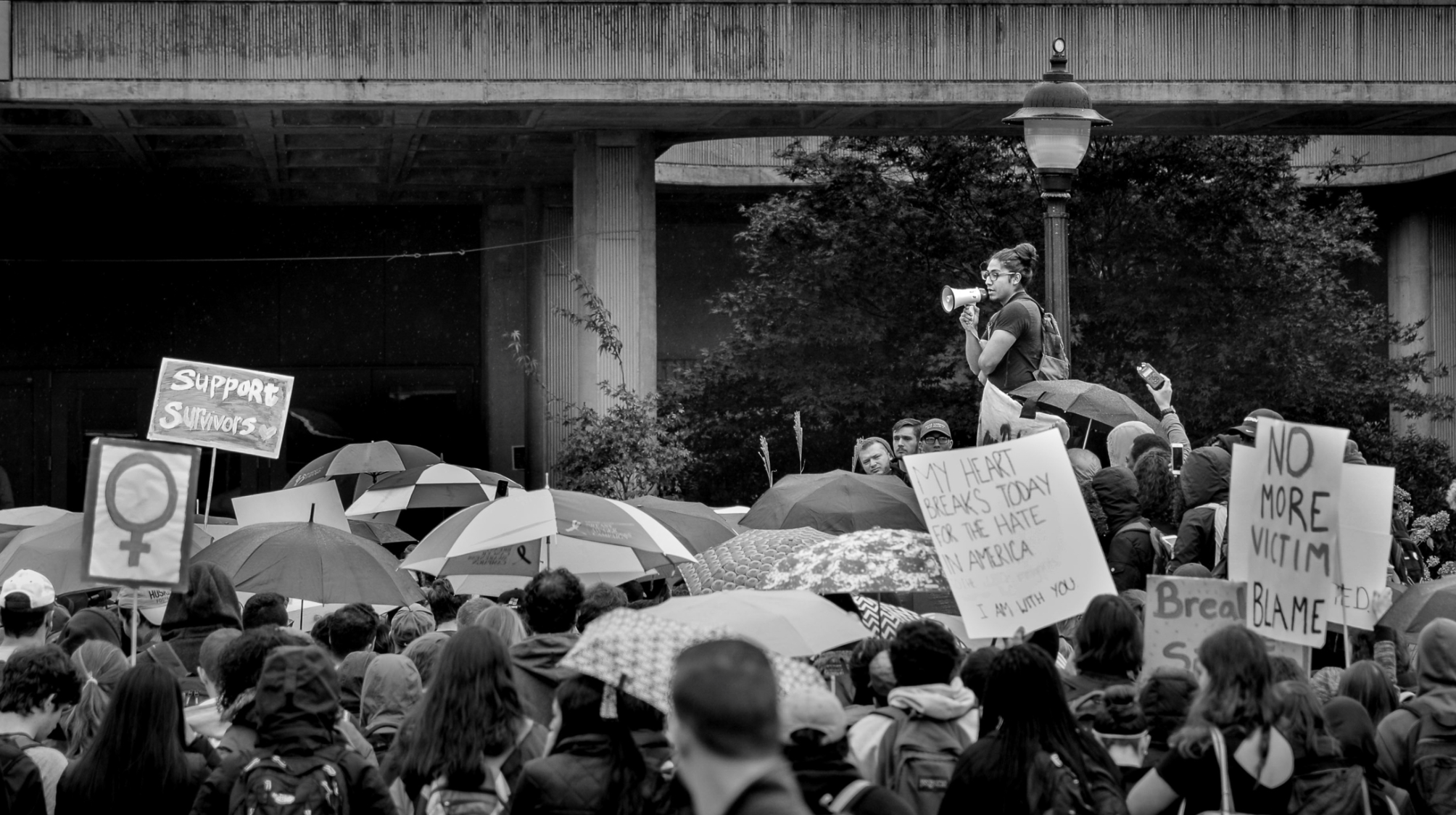 Eric protesting at a rally.