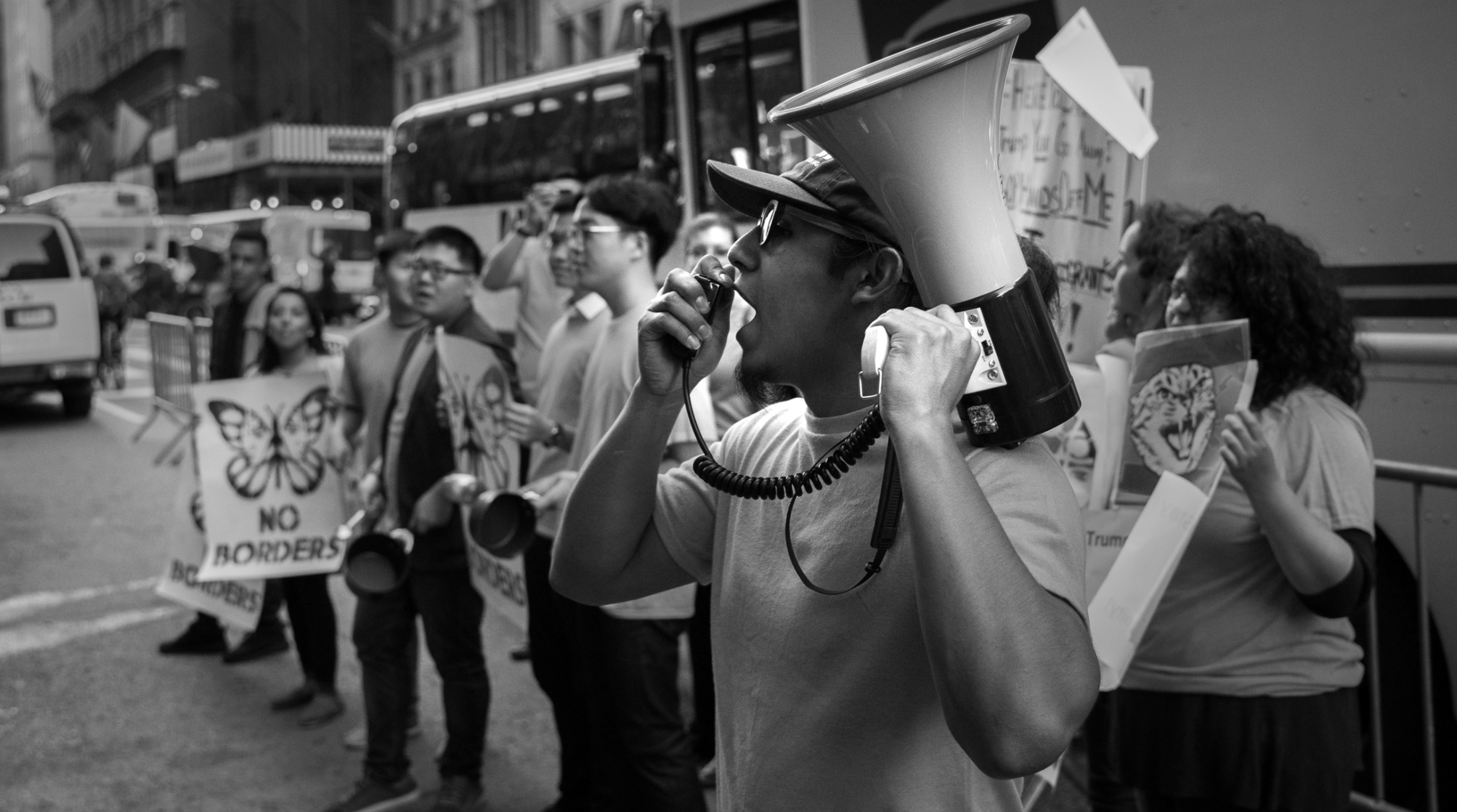 Eric with his megaphone conducting an rally.