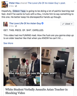 Facebook post from an Asian user who believes that Gideon will be doing a lot of learning.